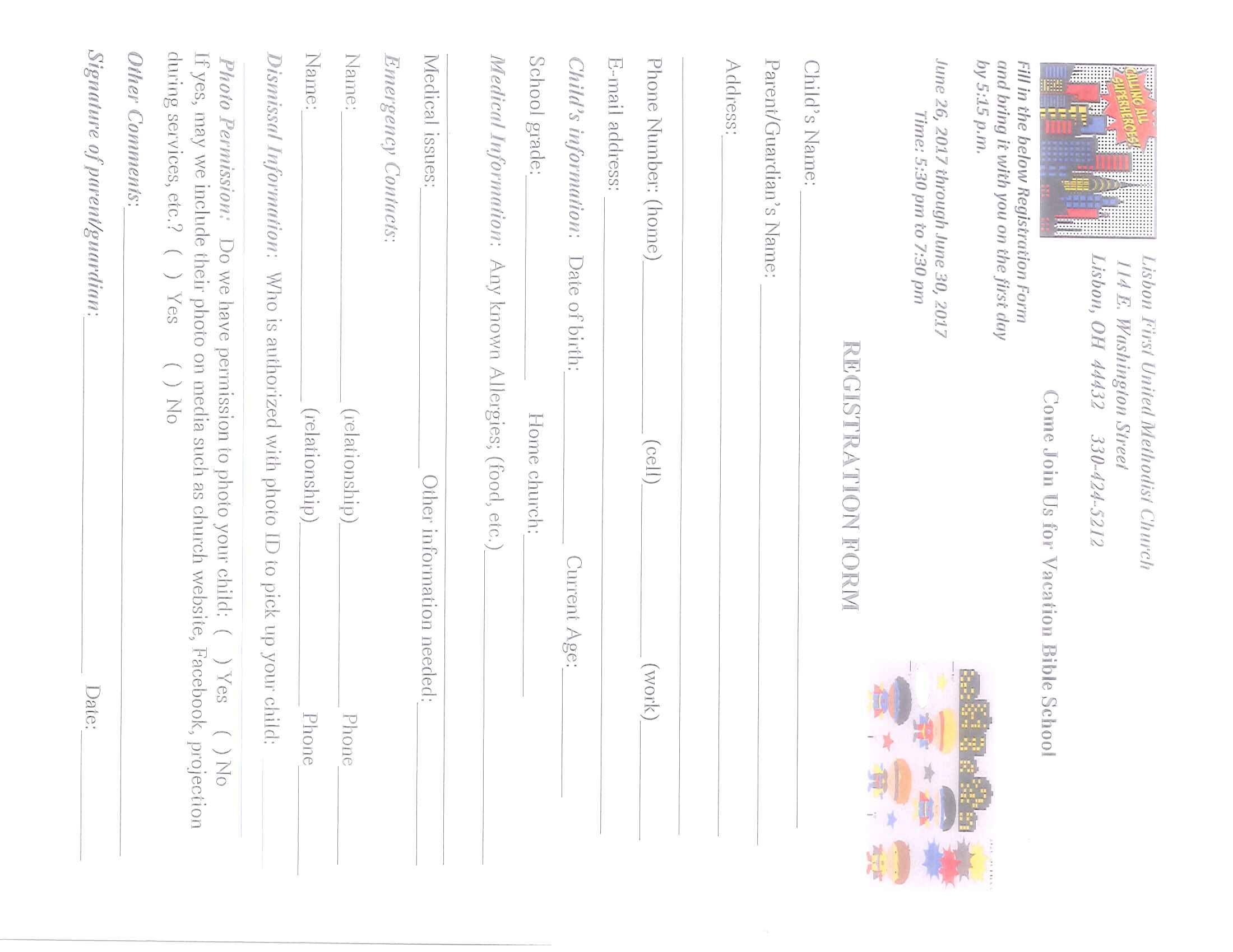 Vacation Bible School Registration form 2017