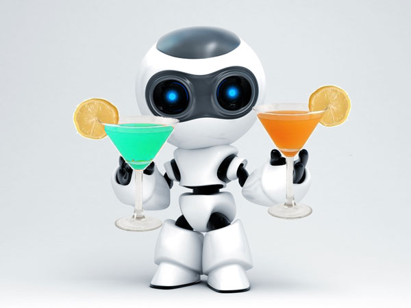 Techie drinks some cocktails