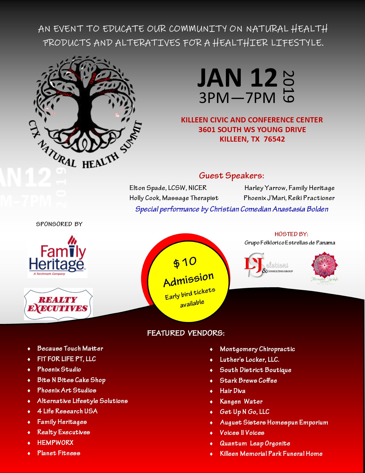 Flyer with vendors name that will be at the event.
