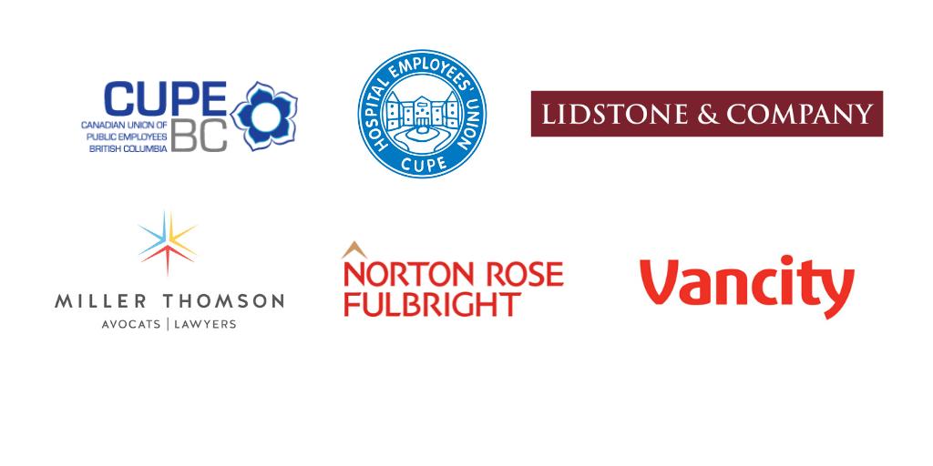 Gold sponsors - CUPE BC, HEU, Lidstone, Miller Thomson, Norton Rose Fulbright, Vancity