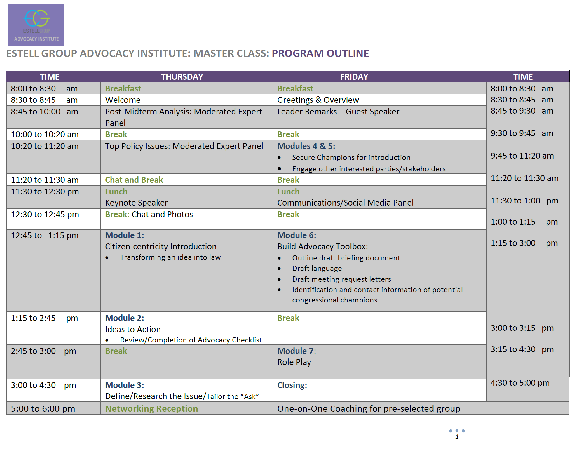 Advocacy Institute Program Outline