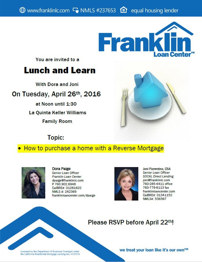 Lunch learn topic reverse mortgage tickets tue for Learn mortgage