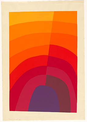 Image:  Normana Wight Untitled - purple to yellow diagonal  1967 screenprint, printed in colour inks, from multiple stencils National Gallery of Australia, Canberra Gift of the artist 2013. Donated through the Australian Government's Cultural Gifts Program.