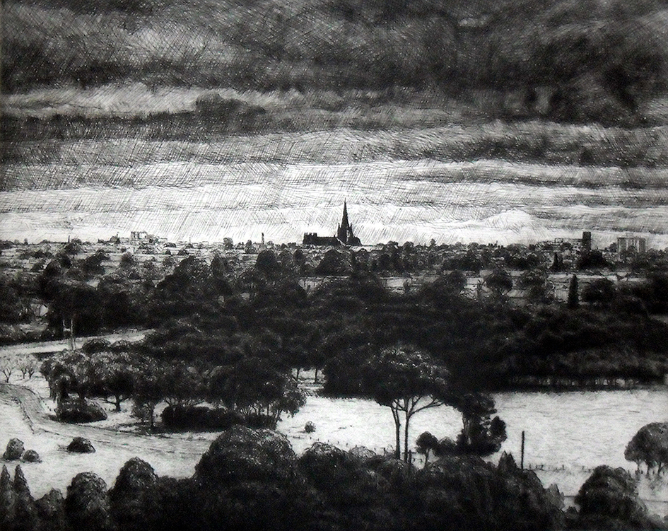 Joel Wolter View of St Marys Cathedral, Geelong  2010 etching; edition: 10/20 Reproduced courtesy of the artist