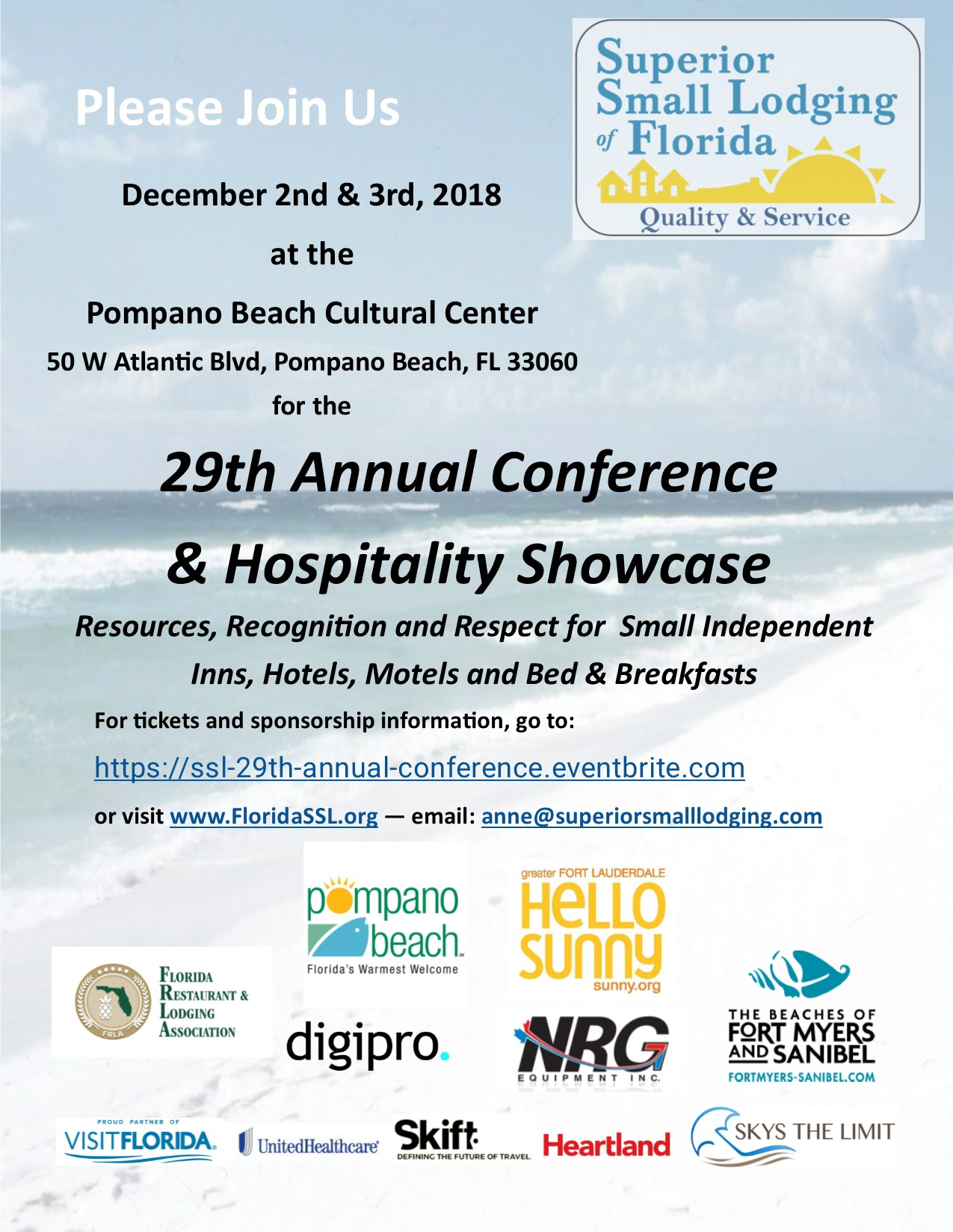 Poster Containing details for SSL 29th Annual Hospitality Conference