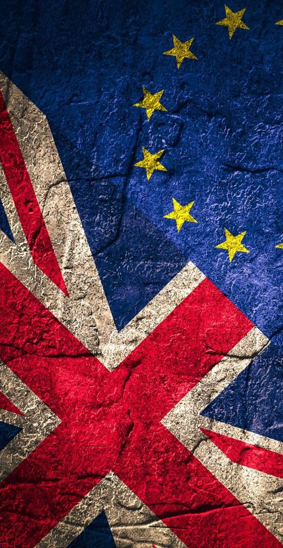 Overlapping UK flag and EU flag