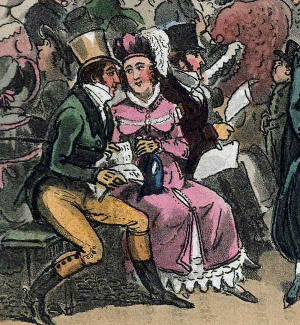 Brightly coloured Image from the 1820s showing a lady and man seated