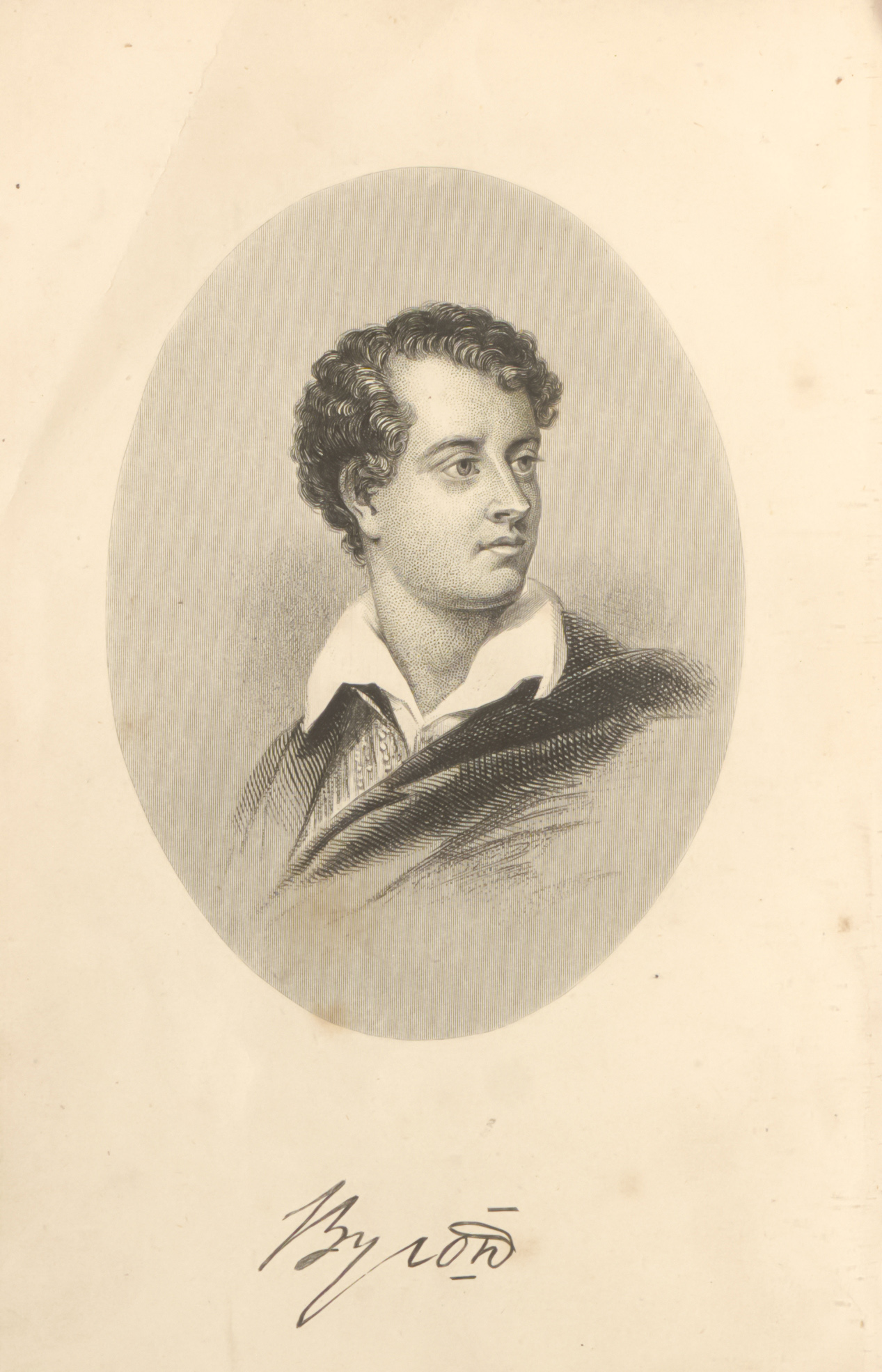 Portrait of Byron in a oval circle