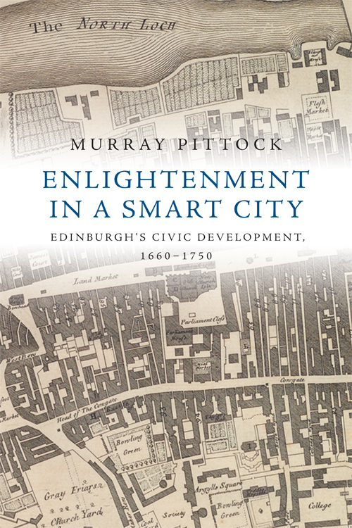 Map of old Edinburgh as cover for the book