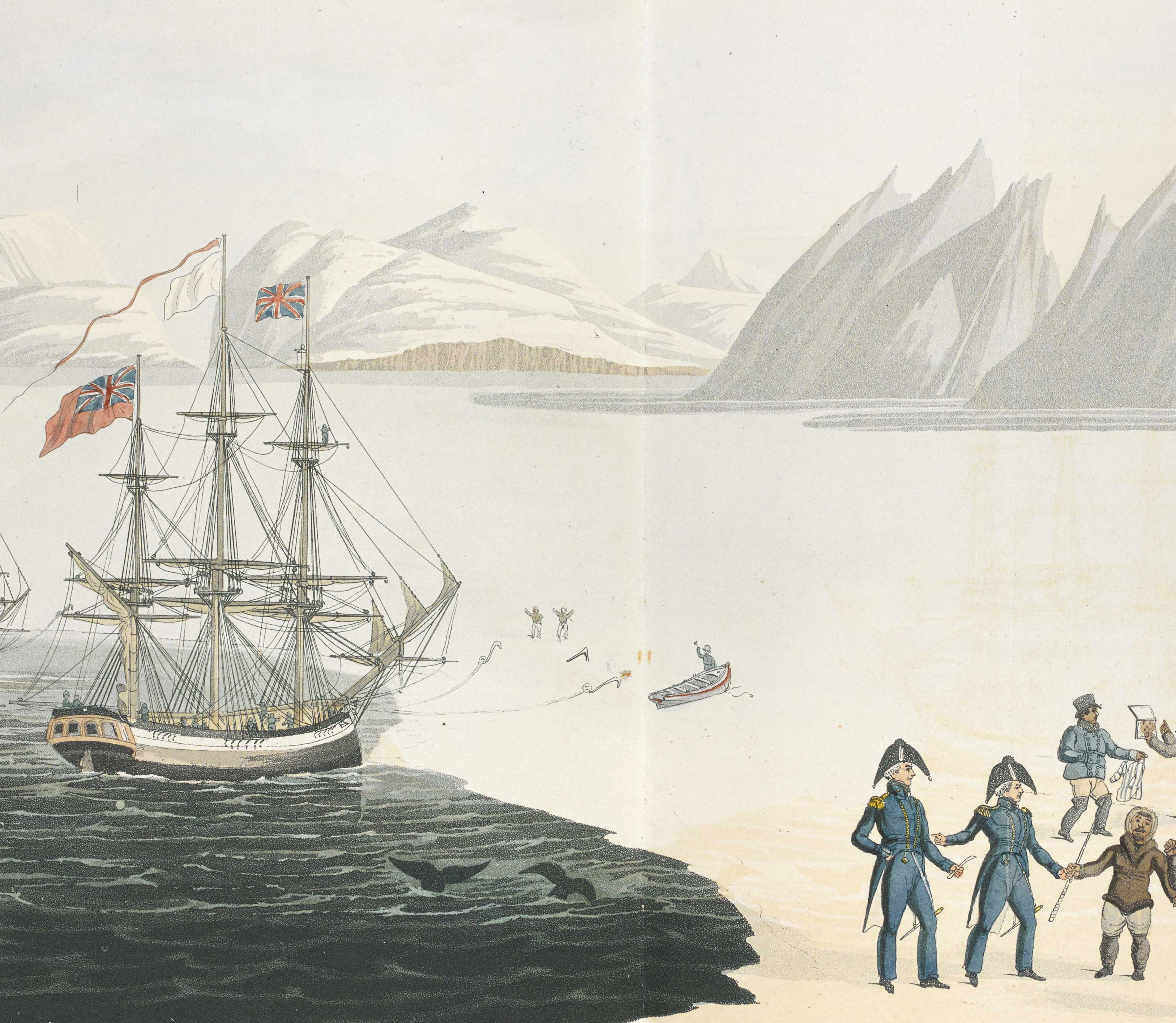 Painting of early arctic explorers