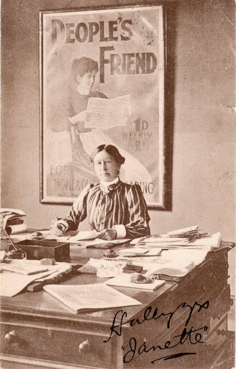 Sepia image of a lady at desk