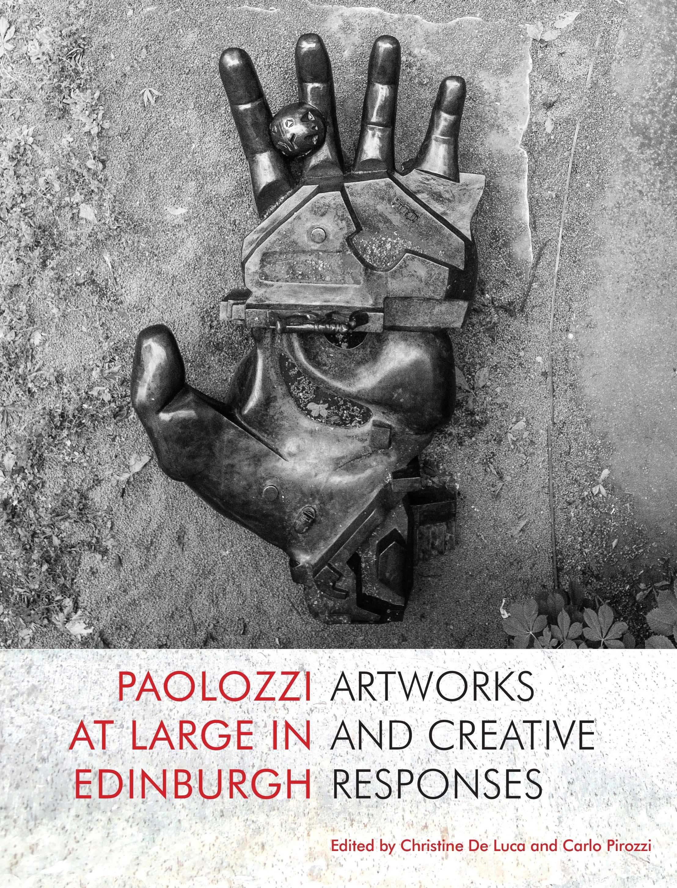 Black and white image of  Paolozzi sculpture of a hand