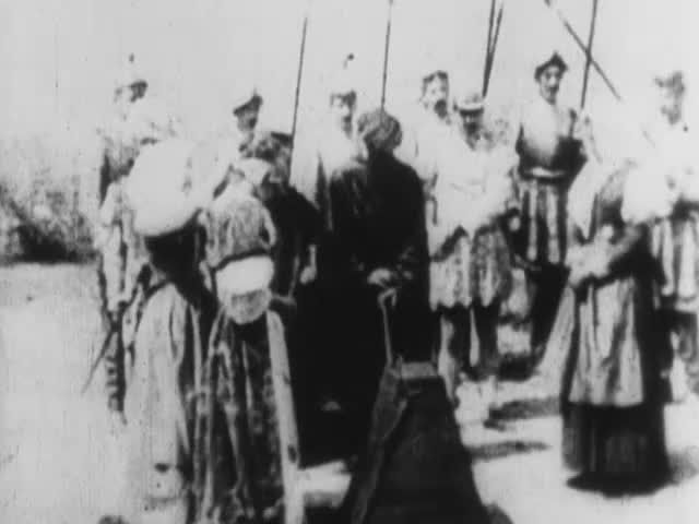 Black and white image of a still from a film about Mary Queen of Scots