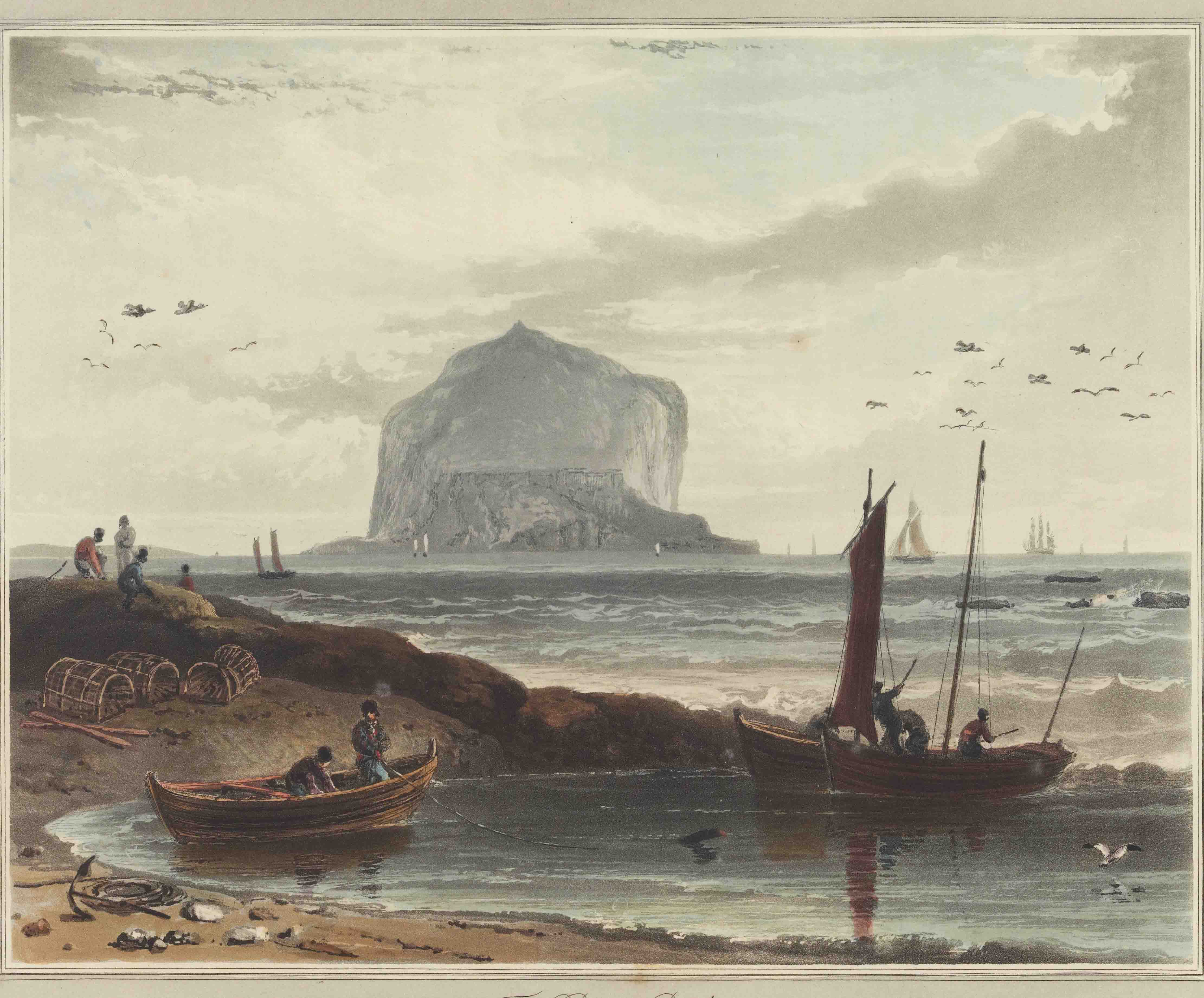 Image of fishermen and boats with Bass Rock in the background