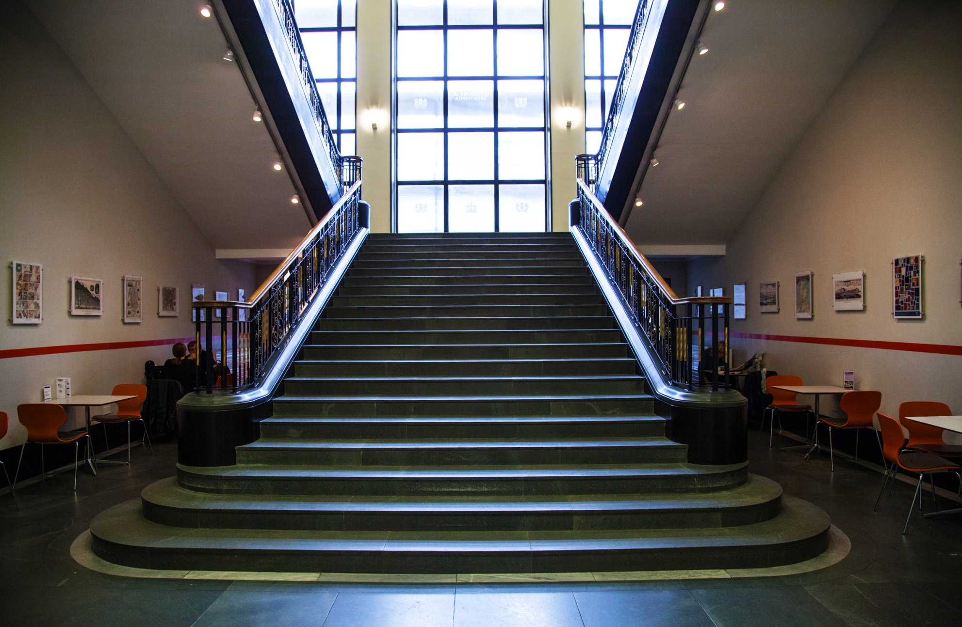 Image of central staircase in the Library