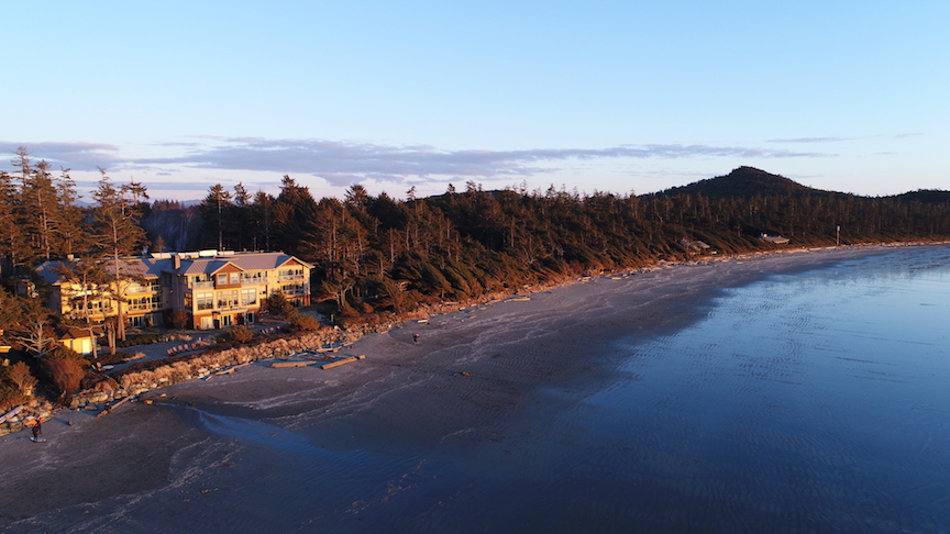 Aerial view of the Long Beach Lodge