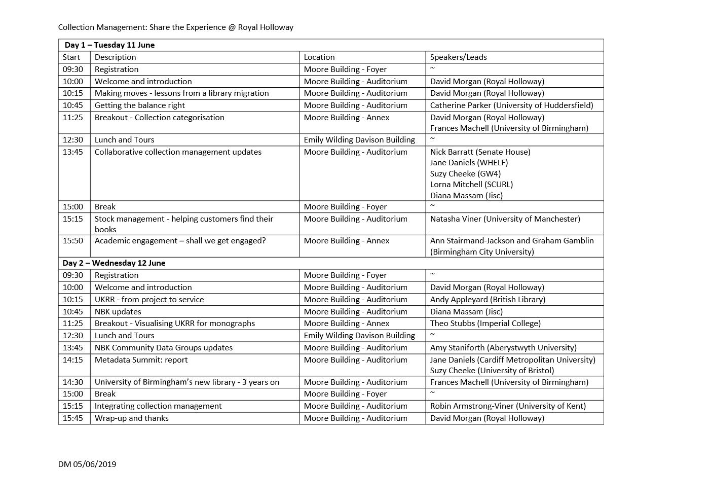CM@ Royal Holloway Programme