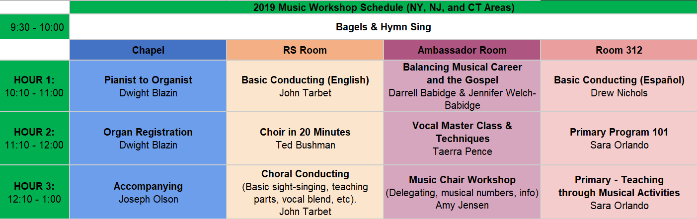 Workshop schedule - class titles, instructors, times, and room numbers