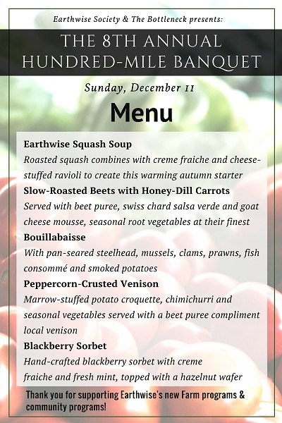 Hundred-Mile Banquet menu