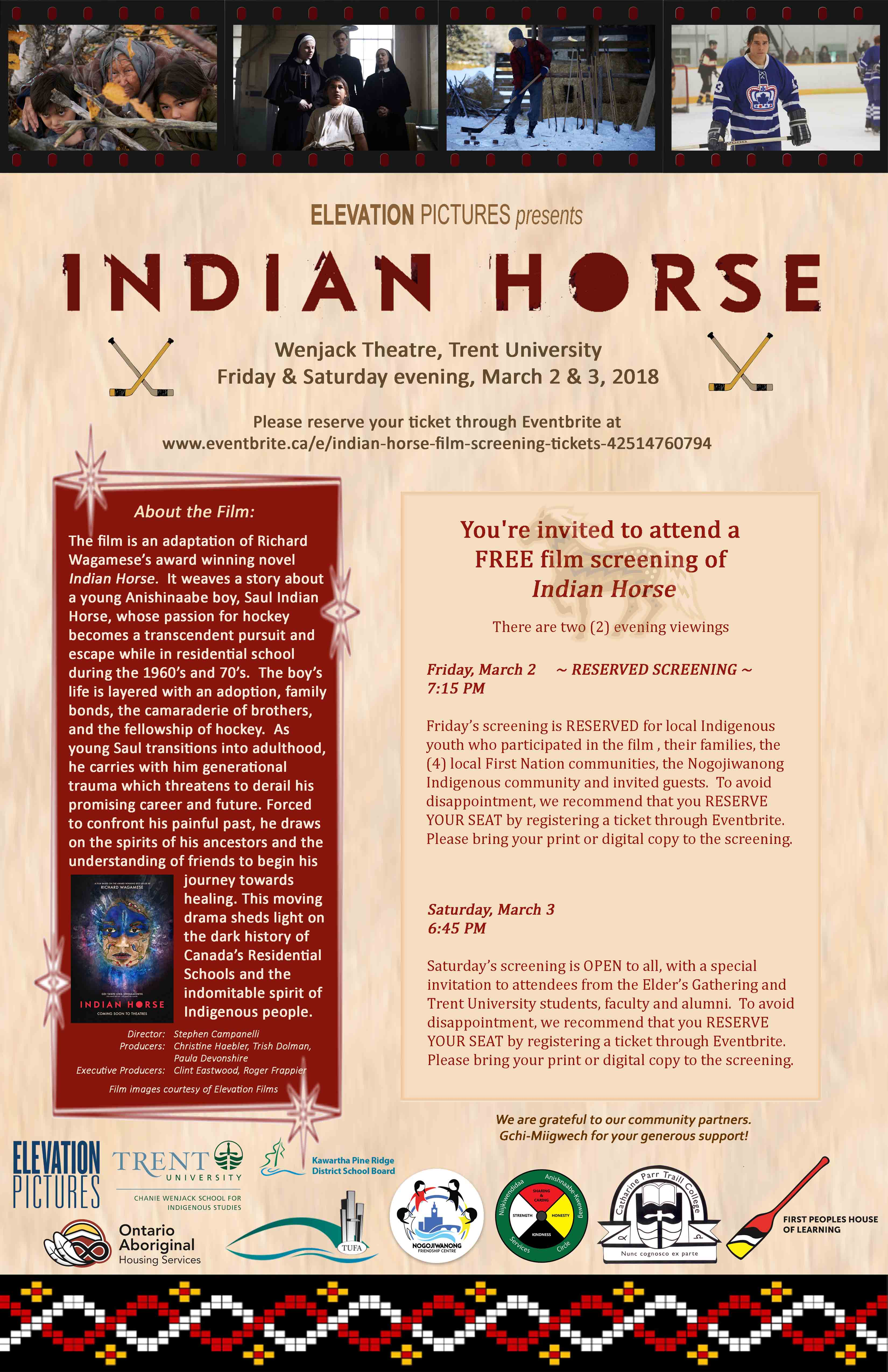 Poster for Indian Horse Screening at Wenjack Theatre