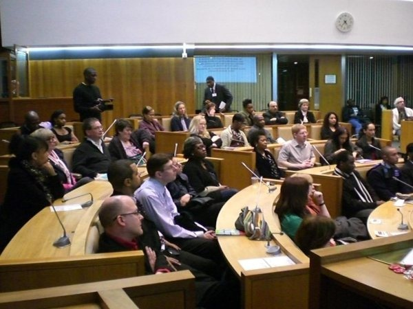Audience at Kwaku-led 'Messrs Samuel Coleridge-Talor & Courtney Pine' presentation at Harrow Civil Centre in 2010