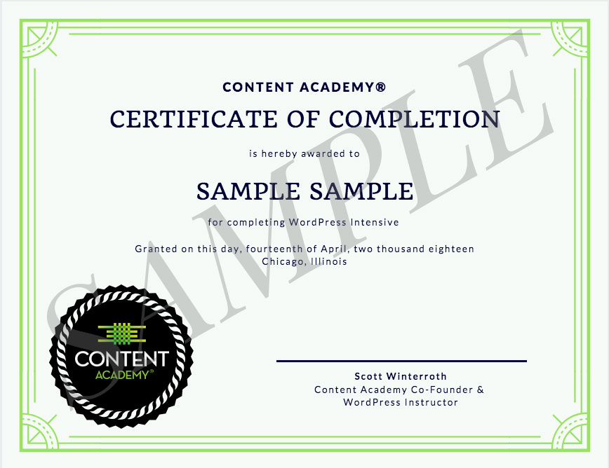 Content Academy cert of completion