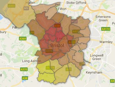 How Bristol voted in the EU Referendum by ward. Red = higher proportion Remain, Yellow = higher proportion Leave. Credit: Bristol 247