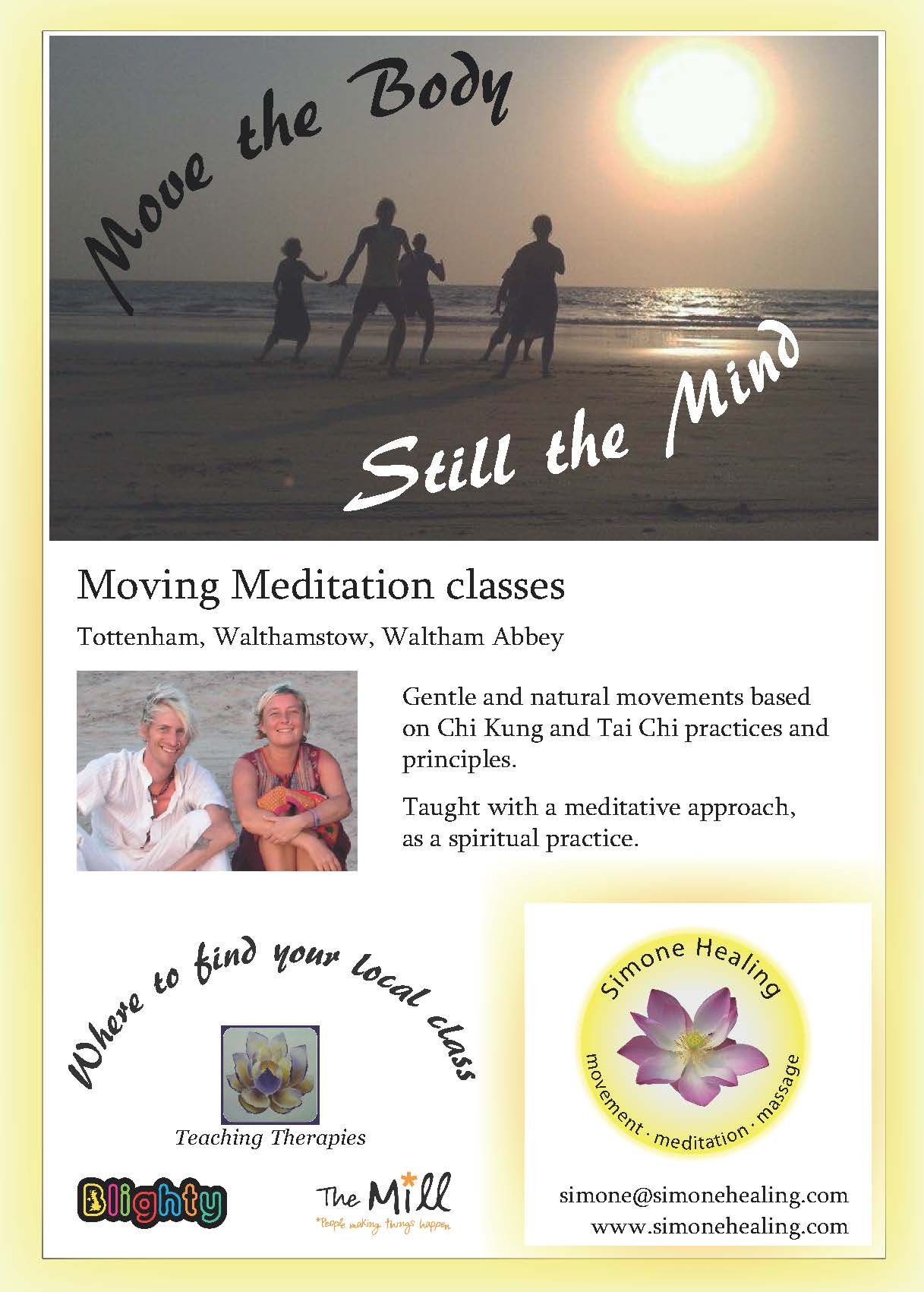 Moving meditation flyer front side
