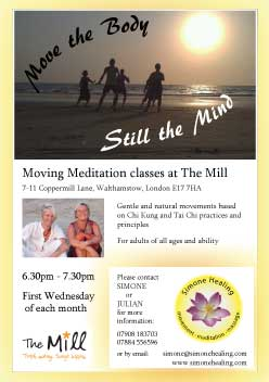 Poster for Moving Meditation Class at The Mill in Walthamstow, East London