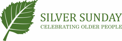 Silver Sunday green leaf logo and text