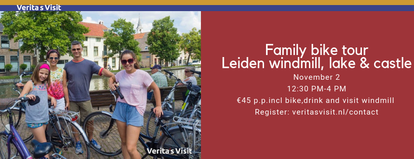 Family bike tour Leiden windmill lake castle