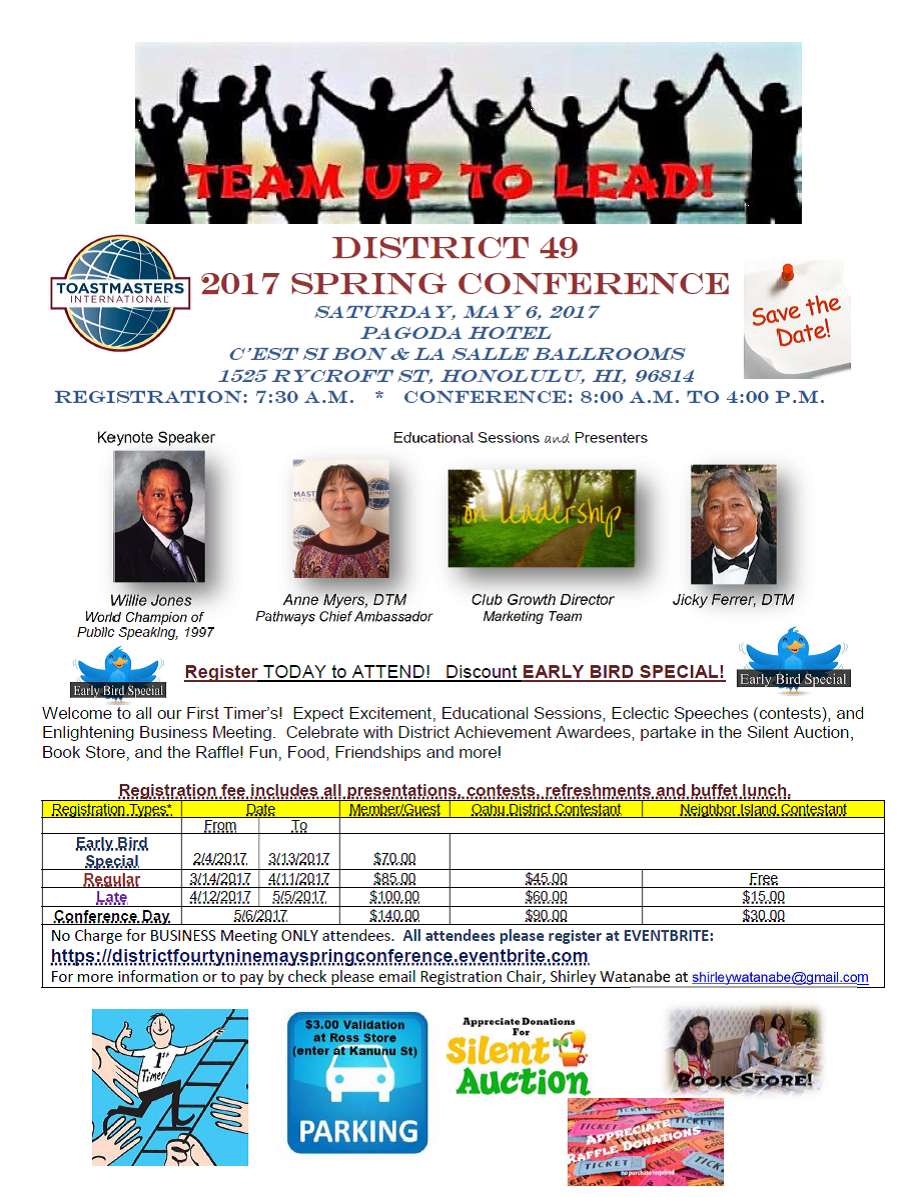 May 6 2017 Spring Conference Information