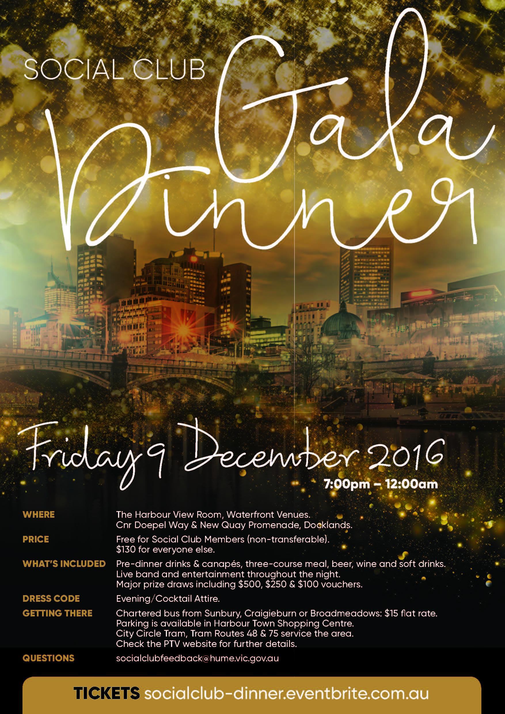 Social Club Gala Dinner Flyer