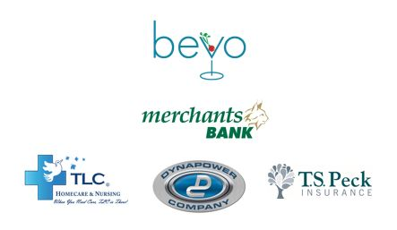 Bevo logo, Merchants Bank logo, TLC Nursing logo, Dynapower Logo, T.S. Peck logo