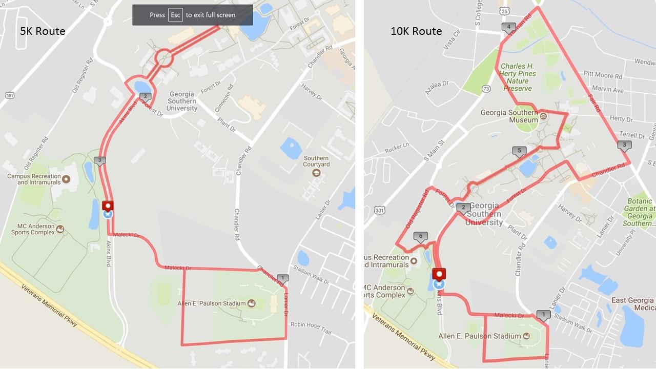 2018 Freedom Run 5K/10K Routes