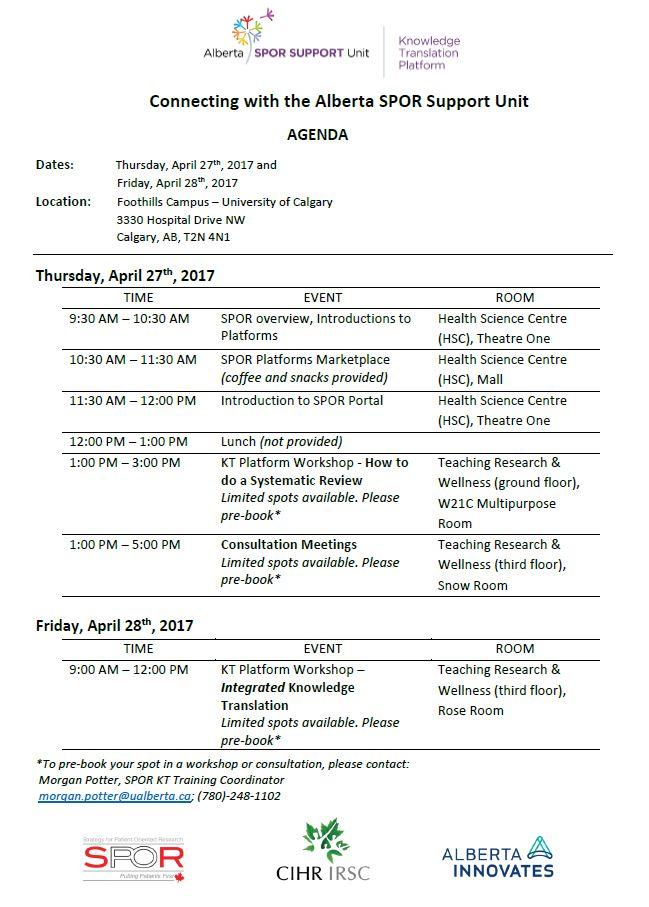 Connect with AbSPORU - Calgary - Agenda