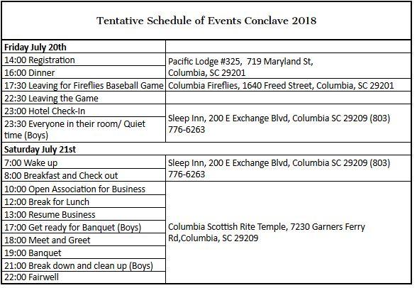 2018 Conclave Schedule