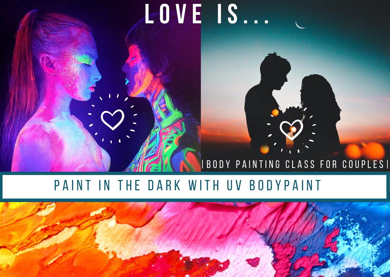 Unforgettable romantic experience for couples! A body painting class for couples in San Diego CA. A romantic and playful date activity where couples paint each other in a dark studio lit by black lights.