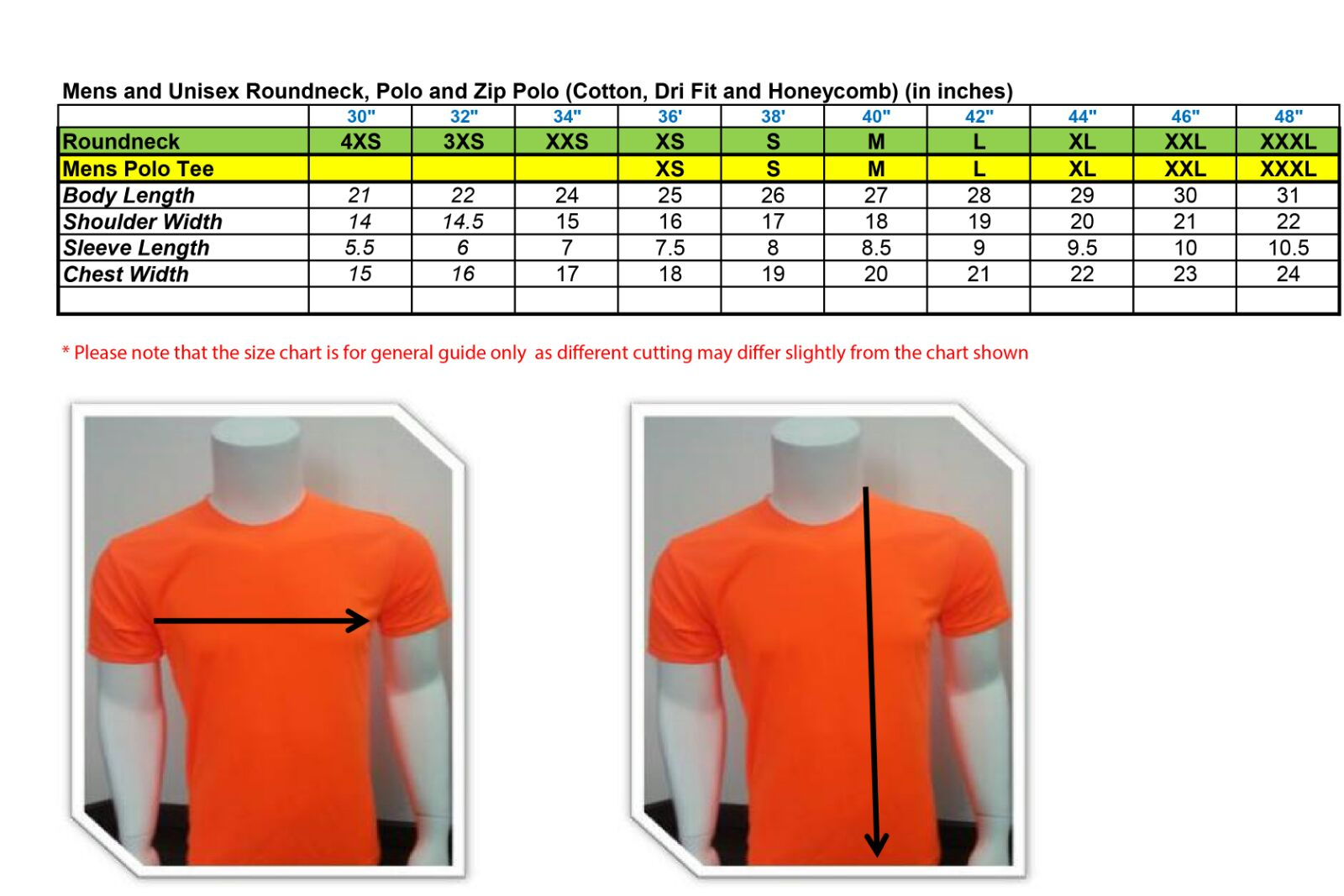 Tee Shirt Size Chart