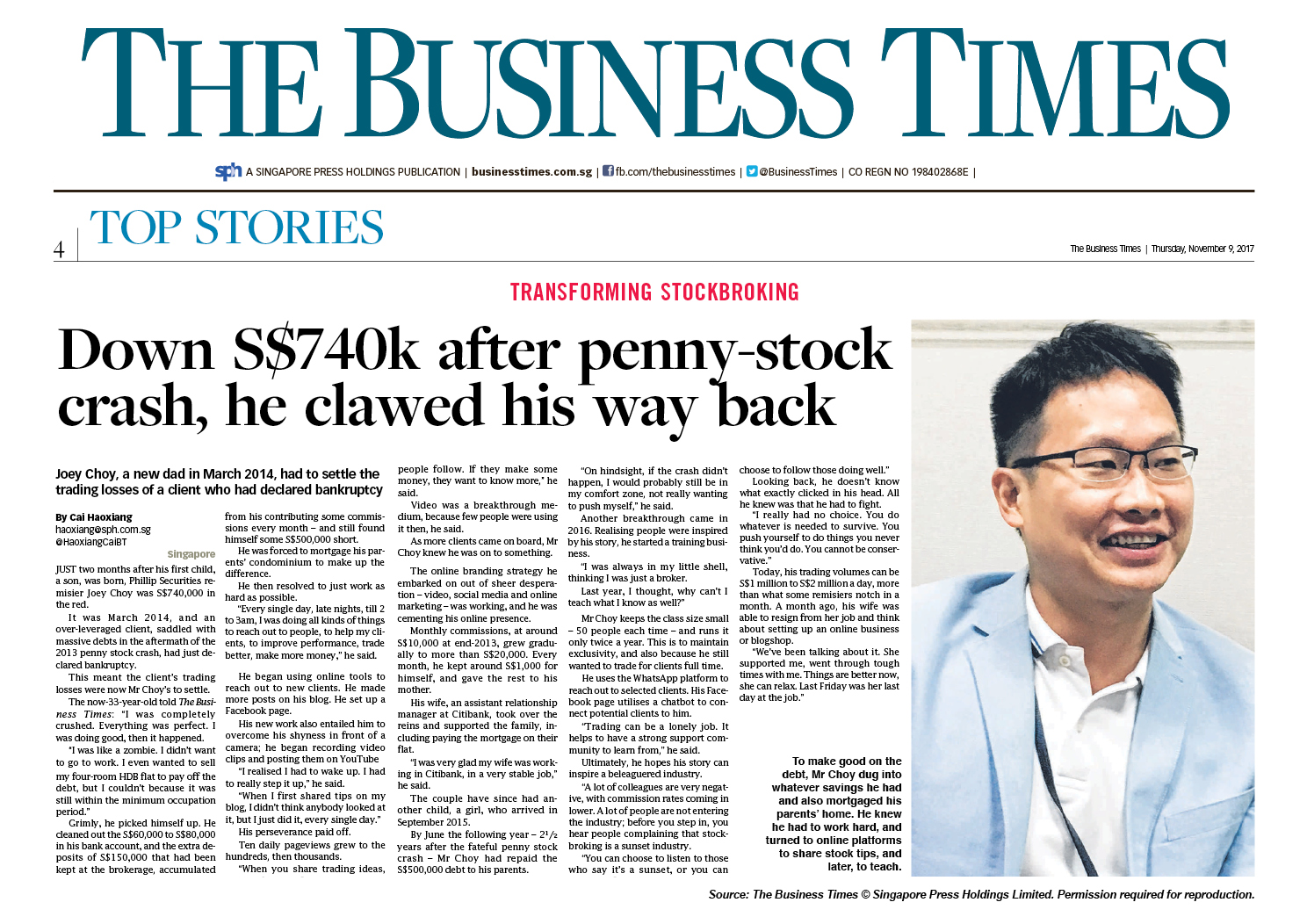 Joey Choy on Business Times