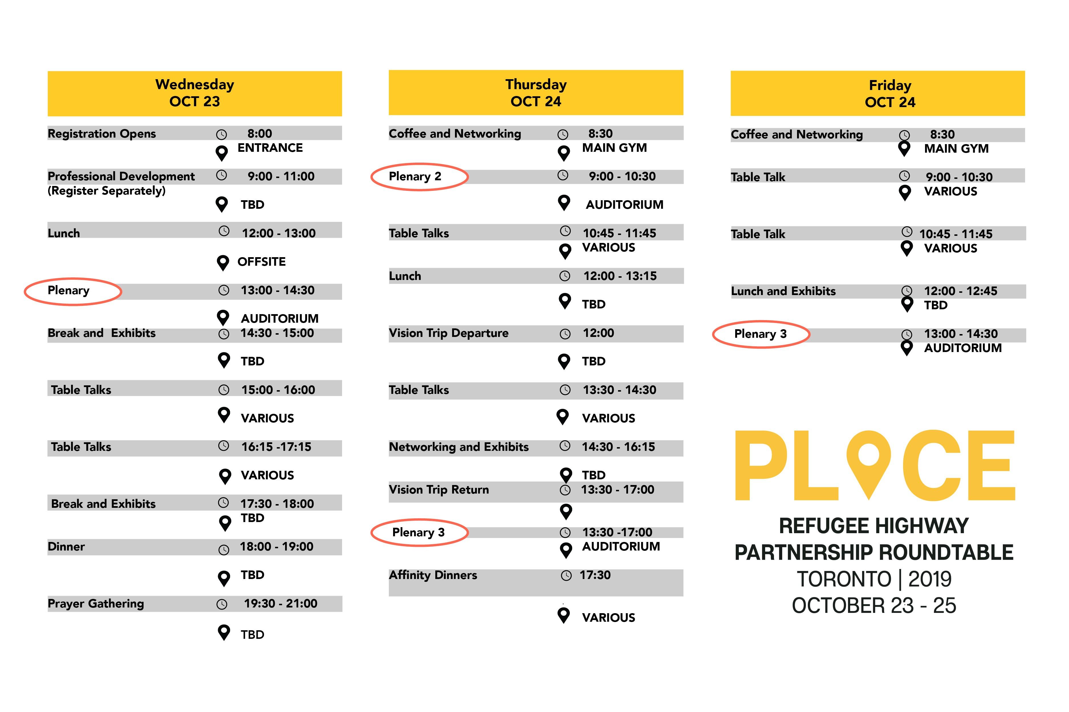 Roundtable Schedule
