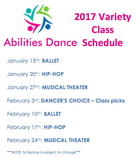 Variety class schedule