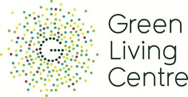 Logo for Green Living Centre with large G and radiating dots