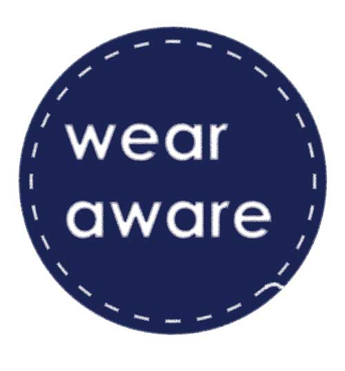 blue circle logo with white stitching that says Wear Aware