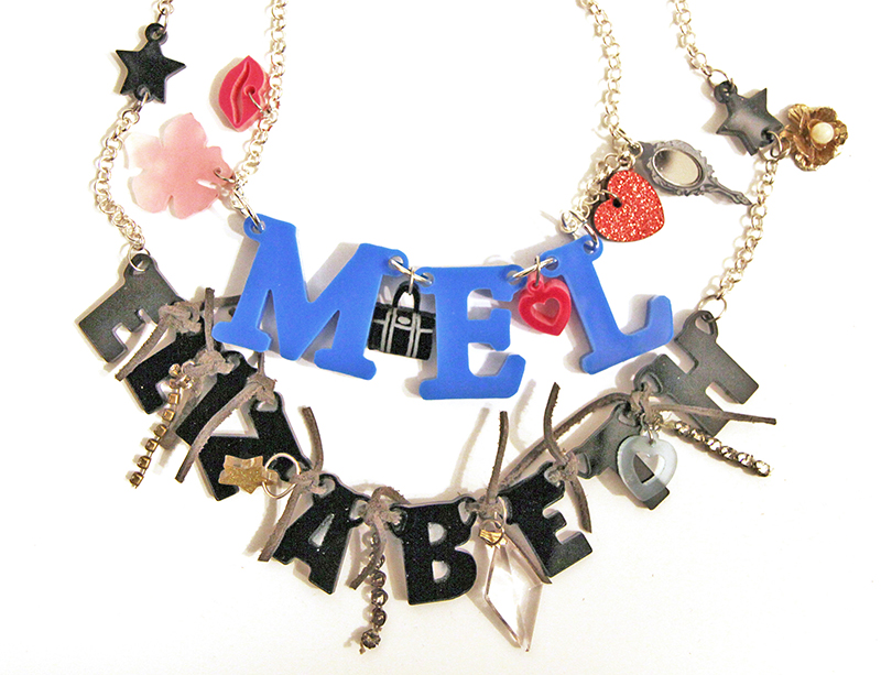 Name Necklace from Perspex Acrylic upcycled materials