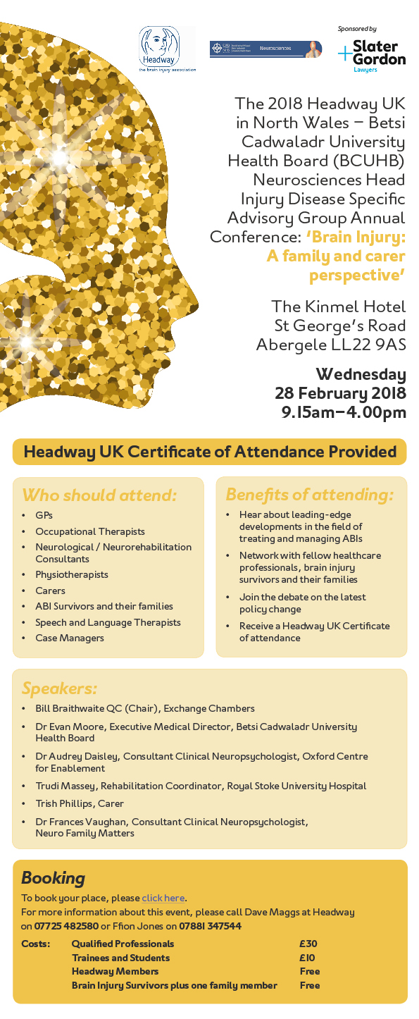 Headway Wales Invitation