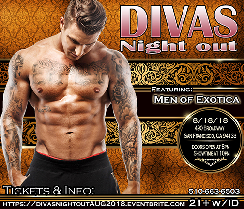 divas night out Male Revue San francisco August 2018