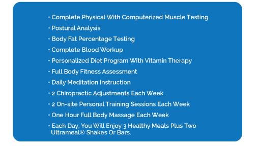 • Complete Physical with Computerized Muscle Testing • Postural Analysis • Body Fat Percentage Testing • Complete Blood Workup • Personalized Diet Program with Vitamin Therapy • Full Body Fitness Assessment • Daily Meditation Instruction • 2 Chiropractic Adjustments each week • 2 On-Site Personal Training Sessions each week • One hour Full Body Massage each week • Each day, you will enjoy 3 healthy meals plus two Ultrameal® shakes or bars.