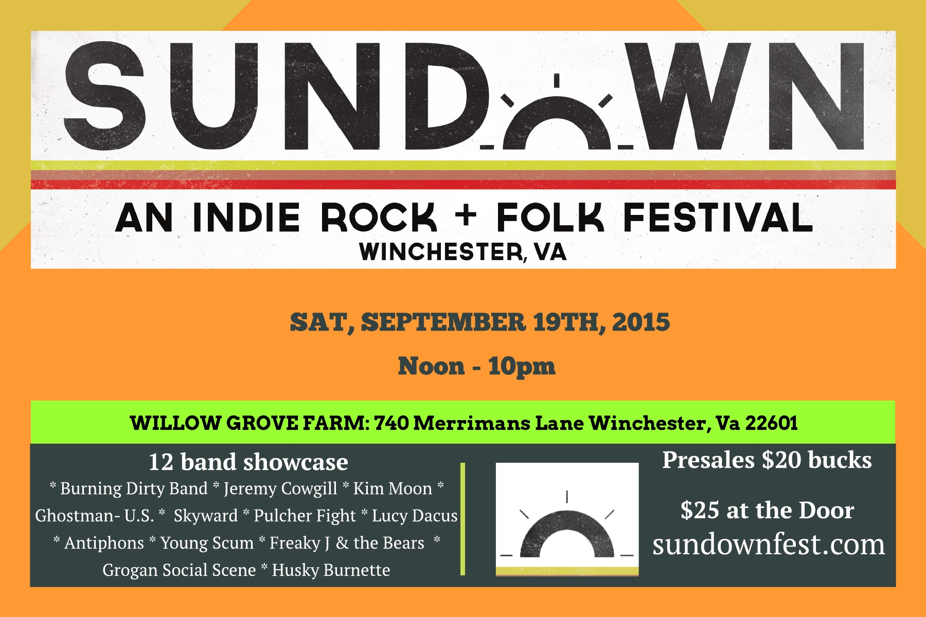 Sundown indie rock and folk festival 2015 winchester virginia usa september 19th
