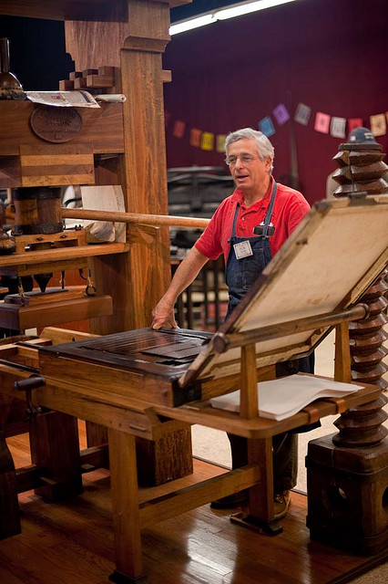 Mark Barbour with antique printing press